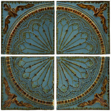 Classic Blue Quarter Medallion Set Of 4 Wall Panels