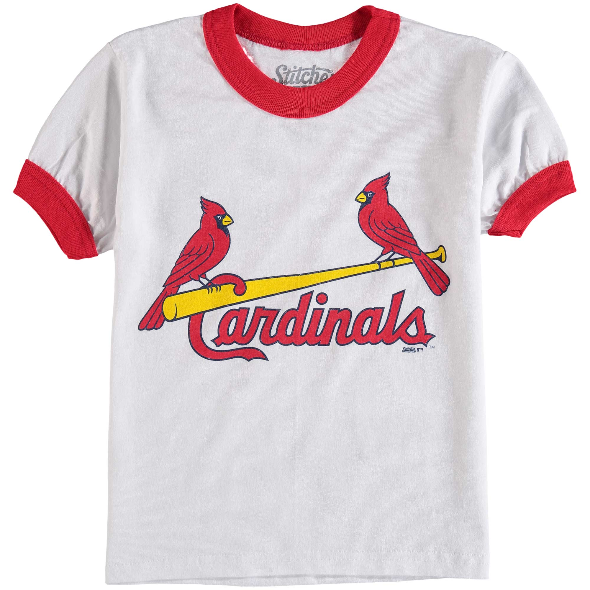 St. Louis Cardinals Stitches Youth Ringer T-Shirt - White/Red
