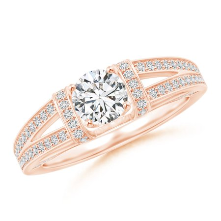 April Birthstone Ring - Vintage Style Diamond Split Shank Ring in 14K Rose Gold (5.5mm Diamond) - SR0154D-RG-HSI2-5.5-11