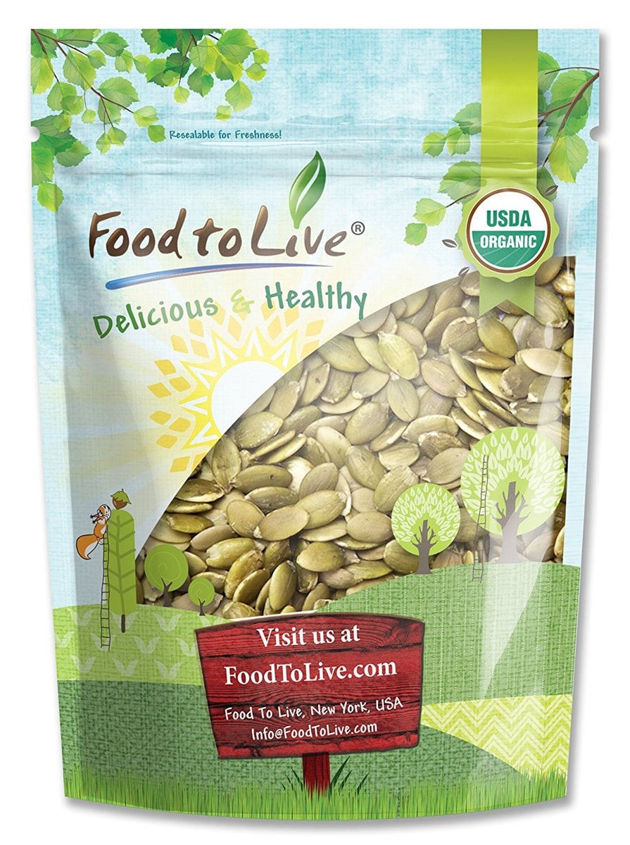 Organic Sprouted Pumpkin Seeds, 8 Ounces – Non-GMO, Kosher, No Shell, Unsalted, Raw Kernels, Vegan Superfood, Bulk – by Food to Live