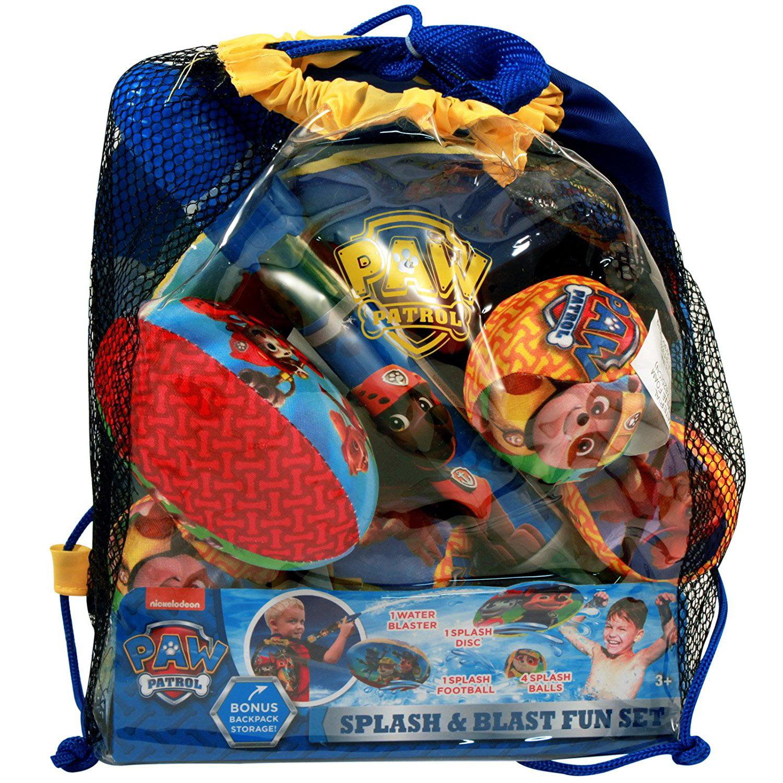 Splash & Blast Fun 7-piece Set with Bonus Backpack, Splash and Blast Fun Set includes 1 Water Blaster, 1 Splash Football, 1 Splash Disc, 4.., By Paw Patrol