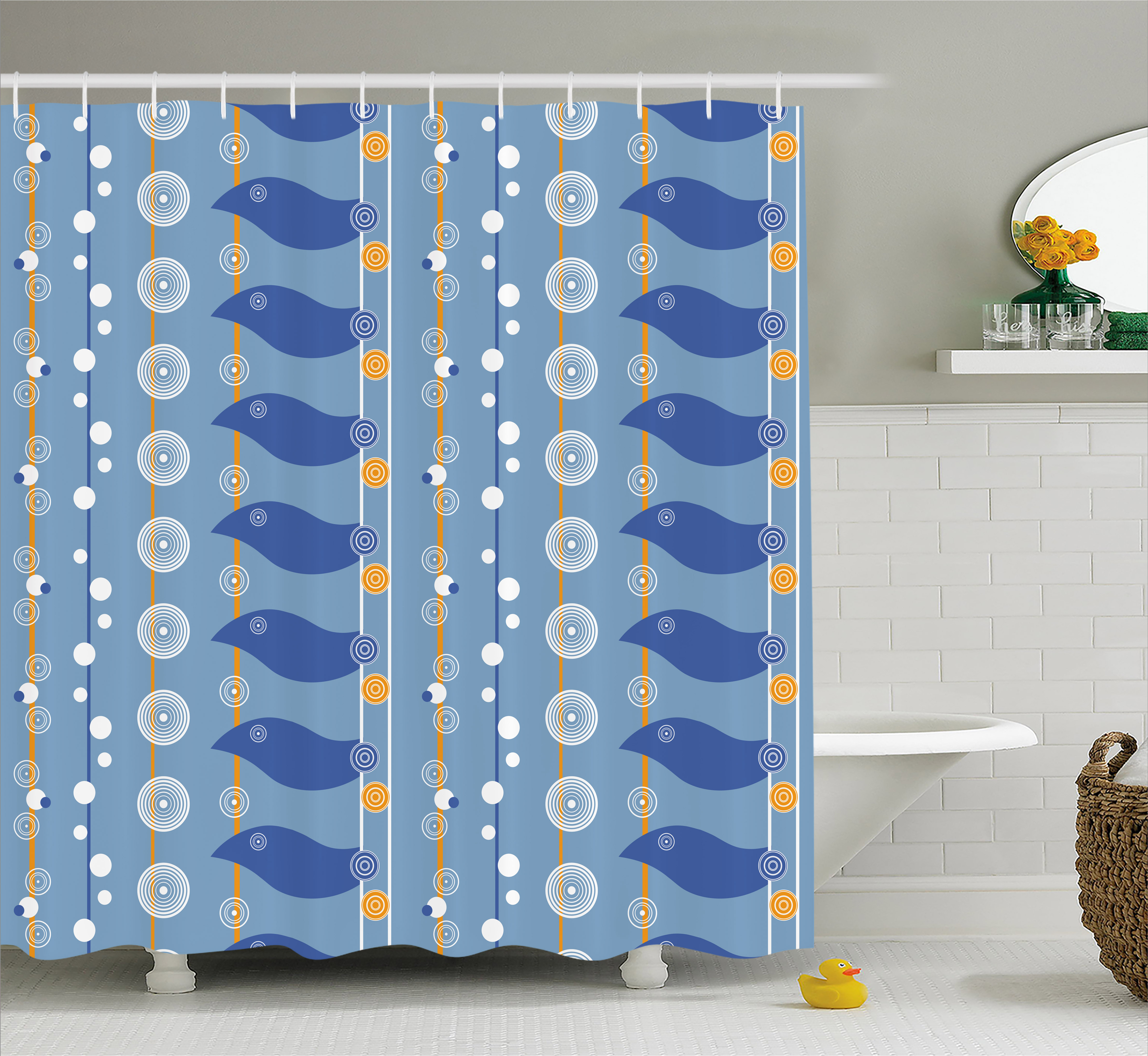 Yellow and Blue Shower Curtain, Abstract Sea Pattern with Spiral Circles Waves Lines Illustration, Fabric Bathroom Set with Hooks, 69W X 70L Inches, Light Blue Marigold, by Ambesonne