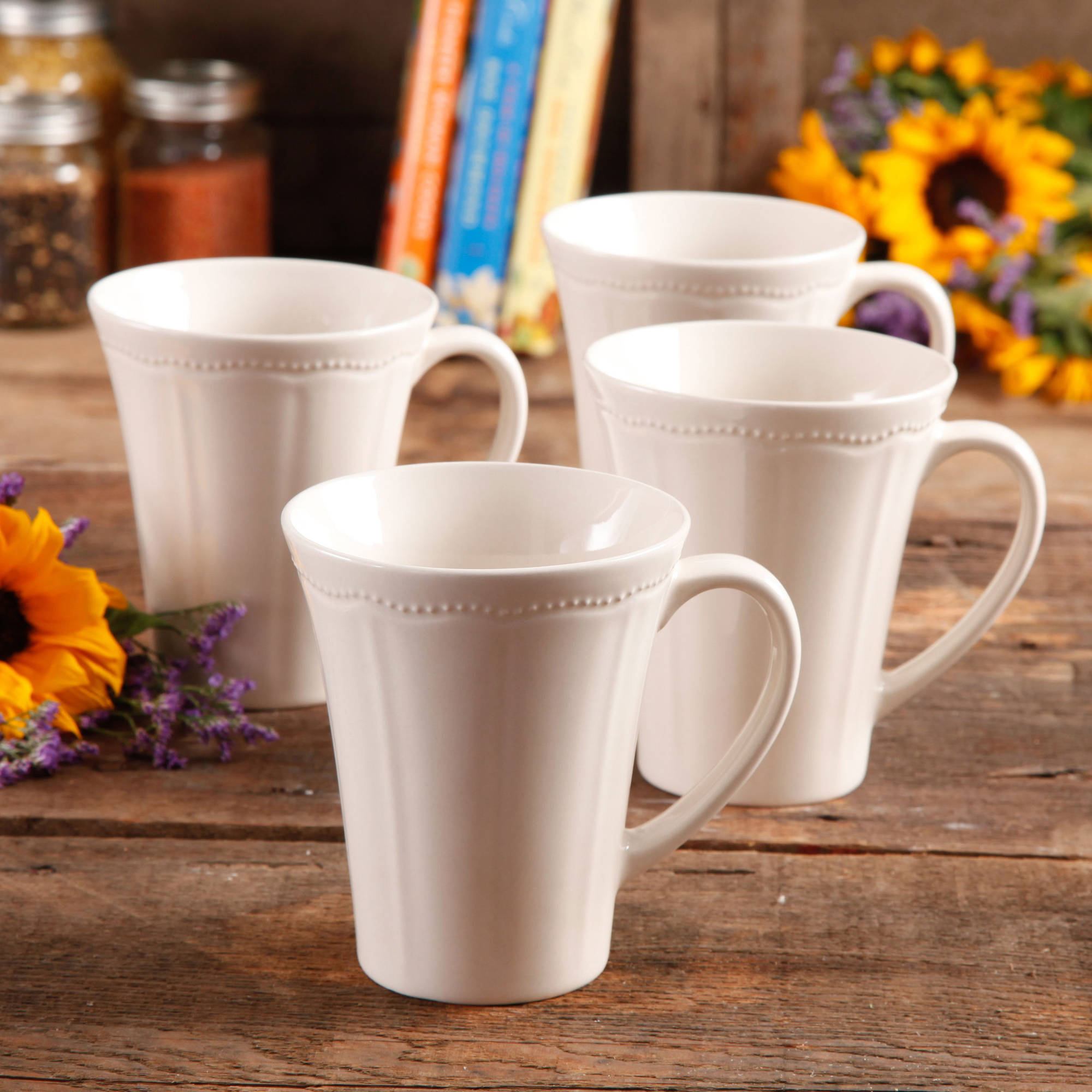 pioneer woman paige piece transparent glaze mug set  walmartcom -