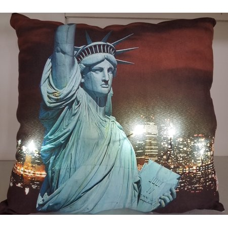 - LED Lighted Statue Of Liberty with New York City Skyline Pillow 17