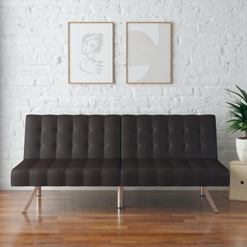 Mainstays Faux Leather Tufted Convertible Futon