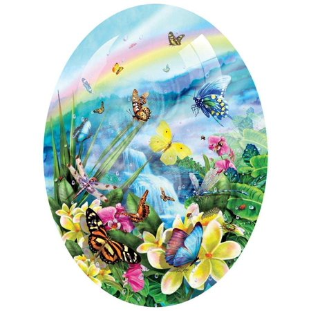 - Butterfly Visions - Oval Shaped Floral Butterfly Puzzle - 600 pc Jigsaw Puzzle, Butterfly Visions 600 pc Jigsaw Puzzle By SunsOut