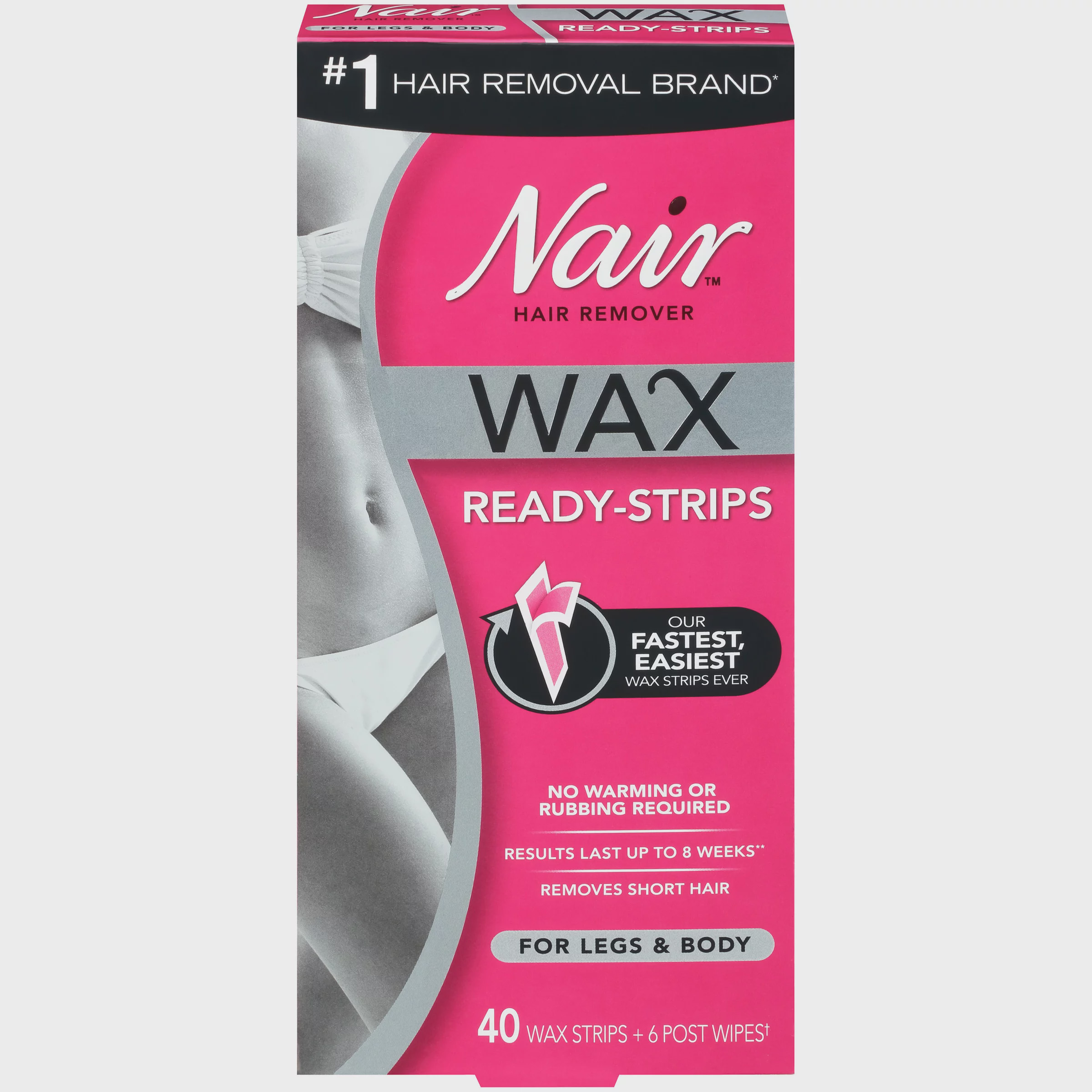 Nair Hair Remover Wax Ready Strips For Legs Body 40 Ct