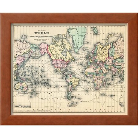 1876 world map of the world 1876 framed print wall art walmart 1876 world map of the world 1876 framed print wall art gumiabroncs Image collections