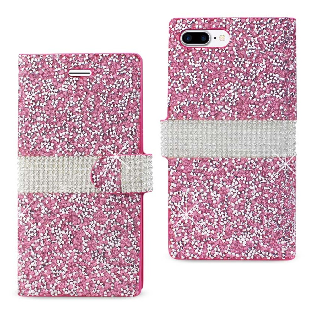REIKO IPHONE 7 PLUS JEWELRY RHINESTONE WALLET CASE IN PINK