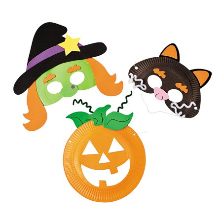 IN-48/4516 Paper Plate Halloween Mask Craft Kit Makes 12](Halloween Mask Making Paper Plates)