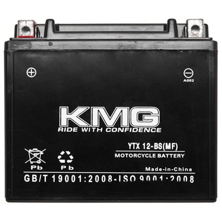 KMG 12V Battery for Honda 250 TRX250 Recon ES 1997-2003 YTX12-BS Sealed Maintenace Free Battery High Performance 12V SMF Replacement Powersport Battery - image 1 de 3