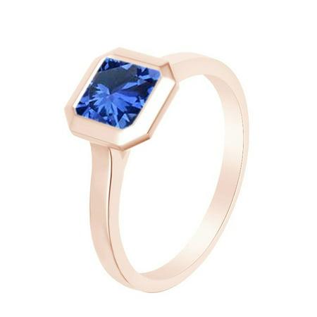 Asscher Cut Simulated Blue Sapphire Solitaire Band Ring 14k Rose Over Sterling Silver (1.25 Cttw)-6.5 Asscher Sapphire Ring