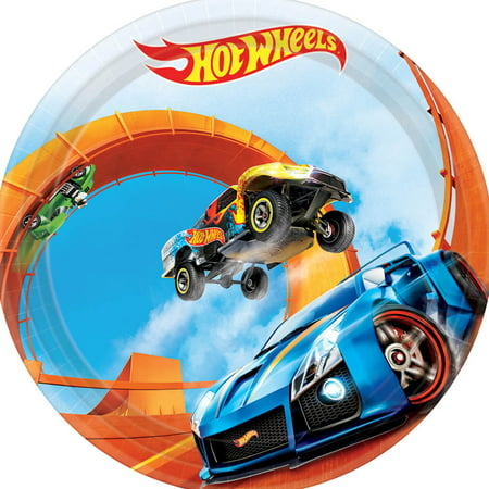 Hot Wheels Party Paper Round Plate, 7 in, 8ct - Hot Wheels Birthday Party Ideas