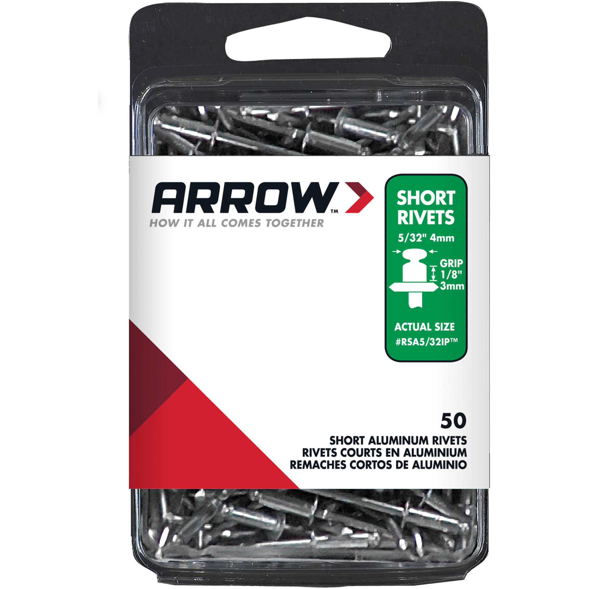 "Arrow Fastener Short Aluminum Industrial Pack 5/32"" Diameter Rivets"