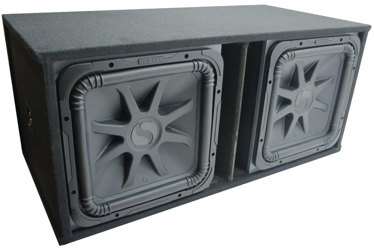 """Car Audio Dual 15"""" L7 Loaded Kicker L7S15 Slot Vent Sub Box 44L7S154  Subwoofers - Walmart.com"""