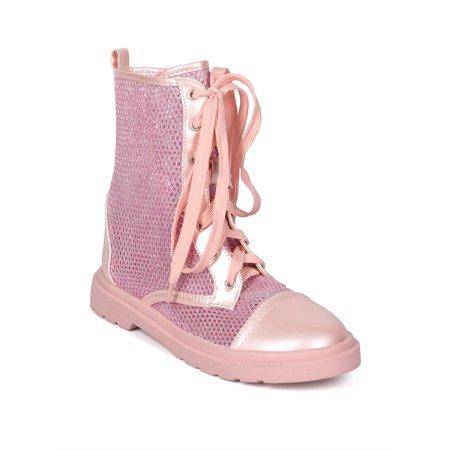 Women Glitter Mesh Capped Toe Lace Up Combat Boot - Glitter Combat Boots