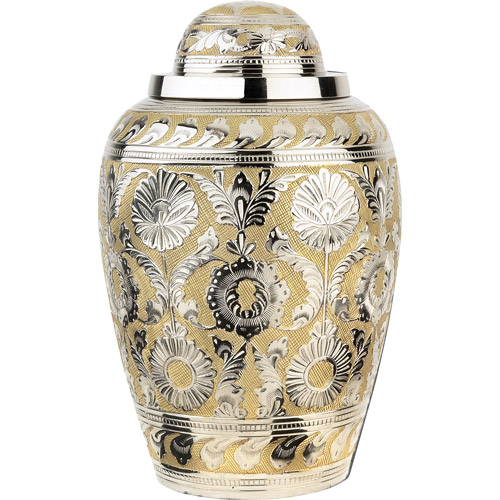 Star Legacy's Silver/Gold Dynasty Brass Cremation Urn for Human Ashes with Velvet Gift Box