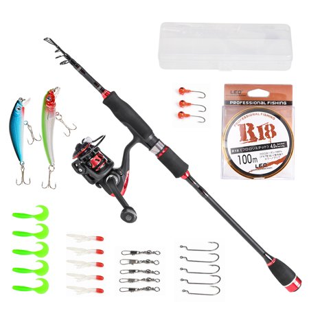 1.8/2.1/2.4m/2.7m/3.0m Telescopic Fishing Rod Reel Combo Full Kit Fishing Pole Spinning Reel Lures Hooks Swivels Line Set thumbnail