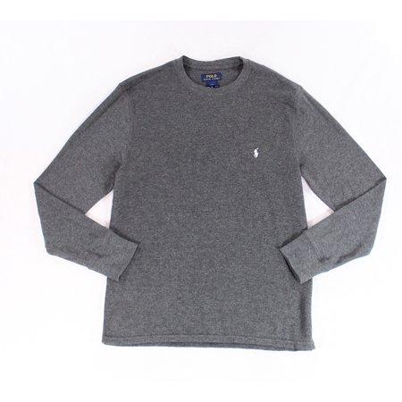 Polo Ralph Lauren Mens Mixed Media Thermal T-shirt (L, Navy Blue)