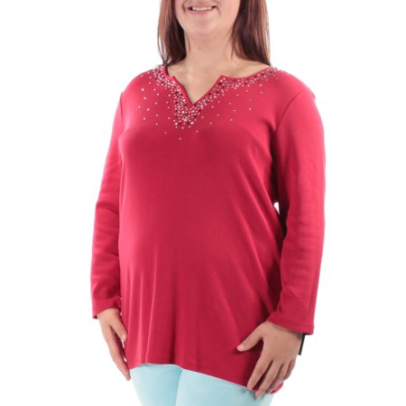 STYLE & COMPANY Womens Red Beaded Long Sleeve V Neck Tunic Top  Size: L (Beaded Net Tunic)