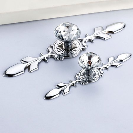 European Style Clear Glass Crystal Flower Knobs Handle Pull For Cupboard Kitchen Bathroom Wardrobe Door Handle - image 5 of 9