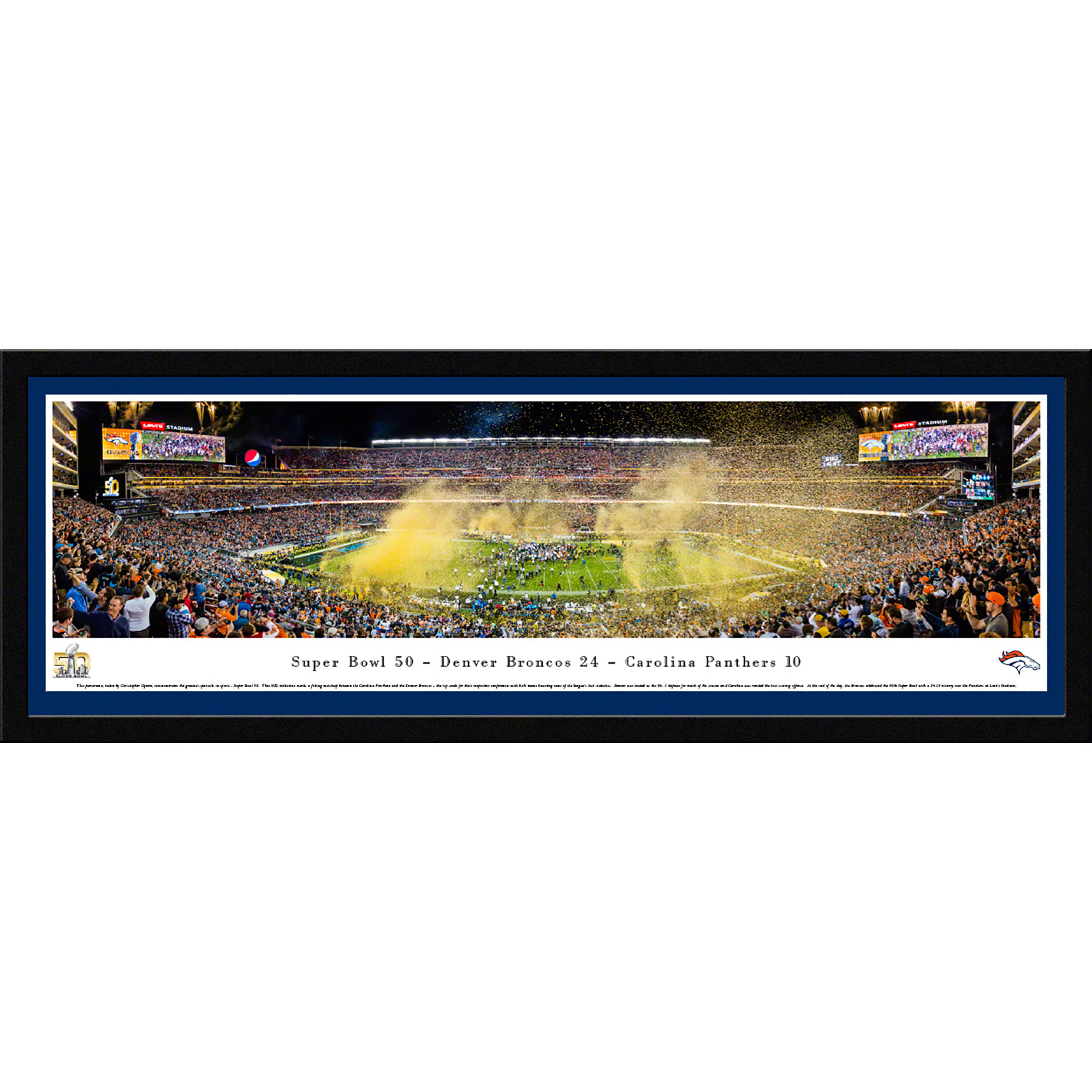 Super Bowl 50 - Denver Broncos Champions - Blakeway Panoramas NFL Print with Select Frame and Single Mat