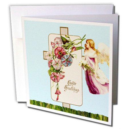 - 3dRose Cross and Angel Easter Greetings - Greeting Cards, 6 by 6-inches, set of 12