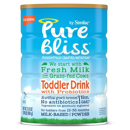 Pure Bliss by Similac Toddler Drink with Probiotics, Starts with Fresh Milk from Grass-Fed Cows, Non-GMO Toddler Formula, 31.8 ounces, 4 (Best Grass Fed Milk Brands)