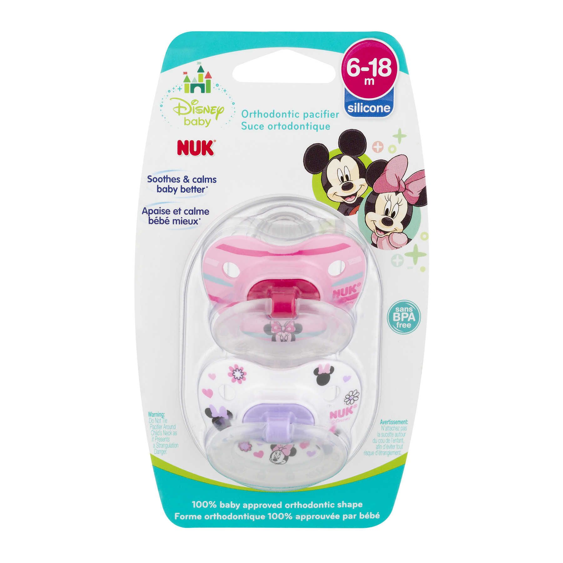 NUK Orthodontic Pacifier, 6-18 Months, Disney Minnie Mouse - 2 Counts