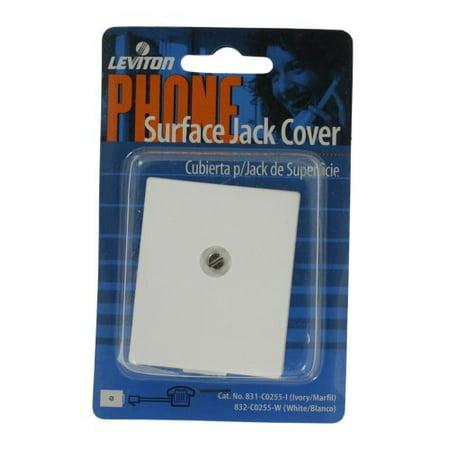 Leviton White Phone Jack - Leviton C0255-W White Surface Mount 6P4C Telephone Jack Cover