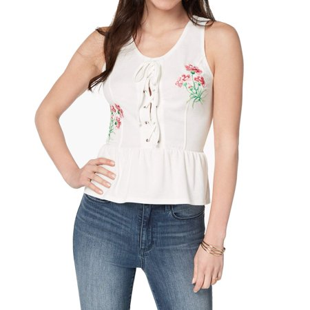 XOXO Pink Womens Embroidered Lace Up Peplum Tank Top