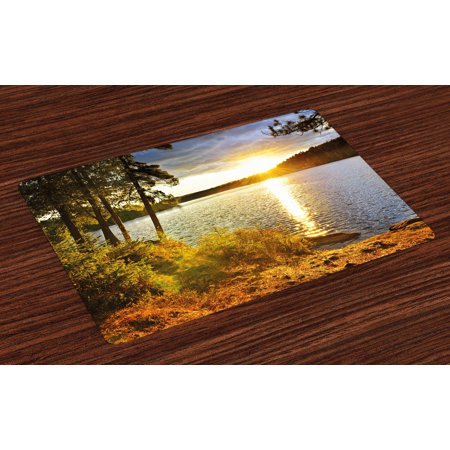 Landscape Placemats Set of 4 Sunset Dawn in the Forest over Lake of Two Rivers Algonquin Park Ontario Canada, Washable Fabric Place Mats for Dining Room Kitchen Table Decor,Multicolor, by