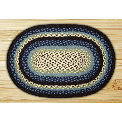 Earth Rugs Blueberry/Creme Braided Area Rug