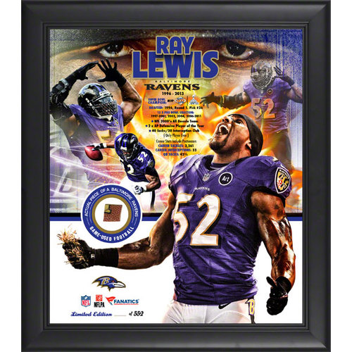 NFL - Ray Lewis Framed 15x17 Multi-Photo Collage | Details: Baltimore Ravens, Retirement, with Game Used Football, Limited Edition of 552