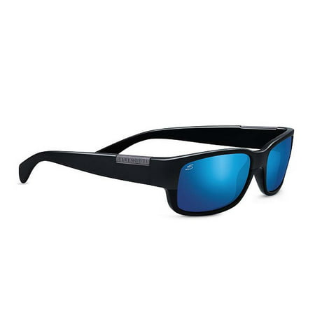Serengeti Sunglasses Merano 8267 Satin Shiny Black Polarized 555nm Blue Mirror