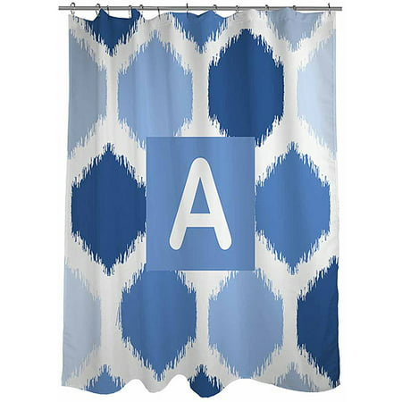 Thumbprintz Batik Monogram Blue Shower Curtain