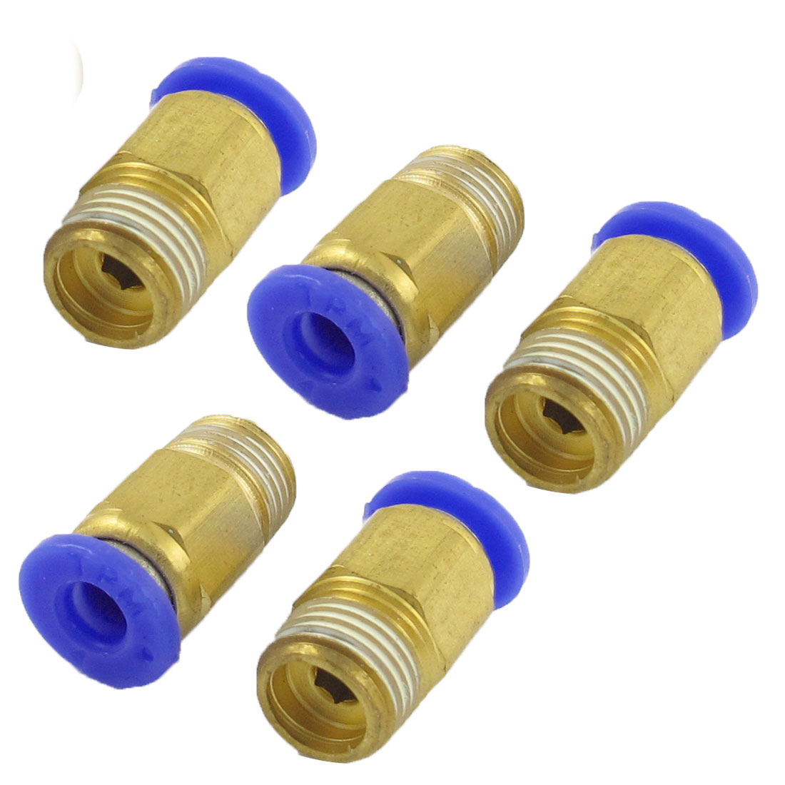 "4mm Hole 1/8"" PT Thread Straight Push in Tube Pneumatic Quick Fitting 5 Pcs"