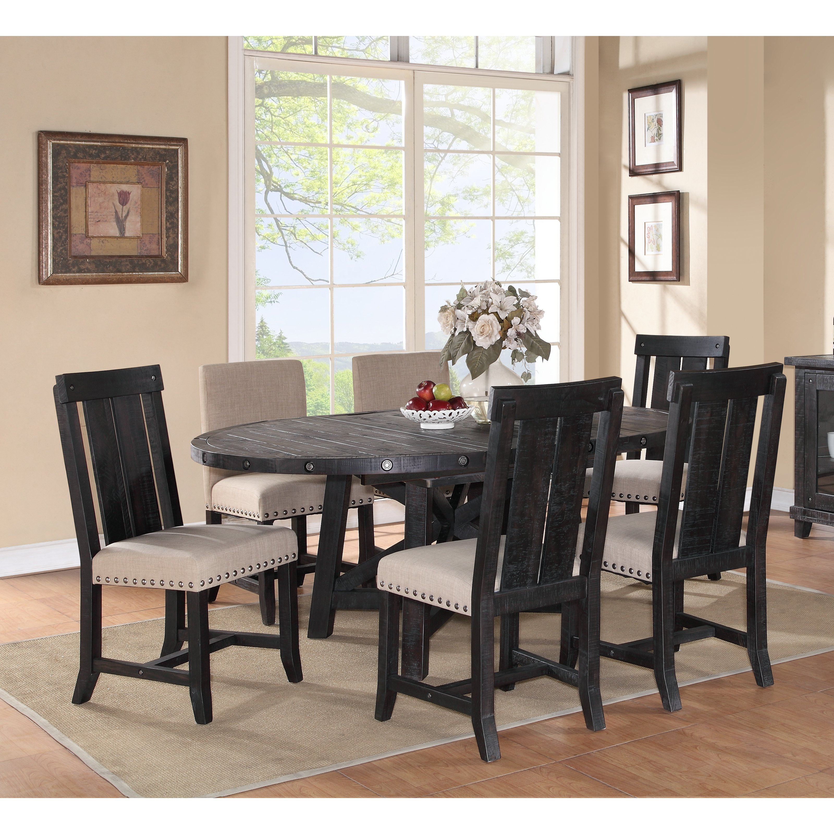 Modus Yosemite 7 Piece Oval Dining Table Set With Mixed Chairs 4 Wood 2 Upholstered
