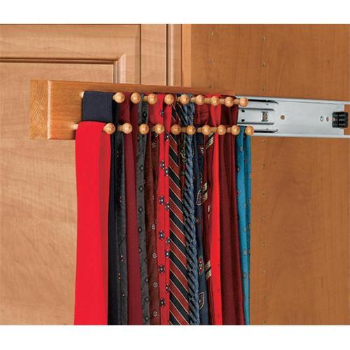 HD RSCWSTR. 14W. 1 Rev-A-Shelf Maple Tie Rack White Side Mount, 14 inch