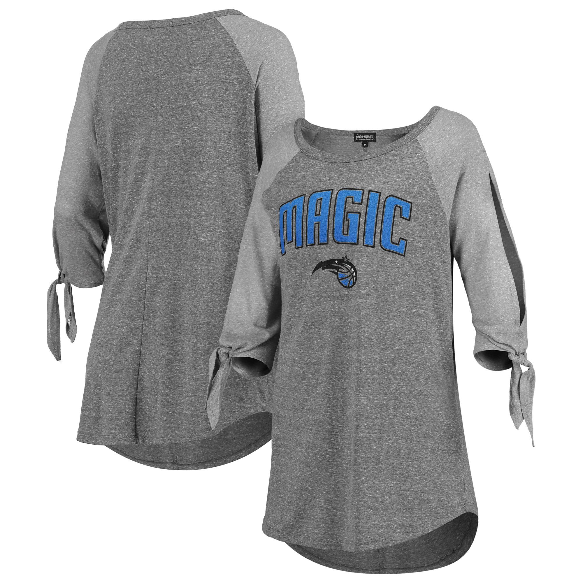 Orlando Magic Women's Open Shoulder Raglan Tri-Blend 3/4-Sleeve T-Shirt - Heathered Gray
