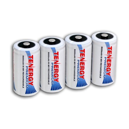 Tenergy Premium C Size 5000mAh High Capacity NiMH Rechargeable Batteries, 4-Pack