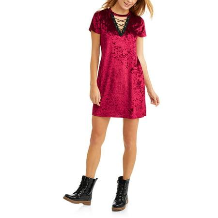 No Comment Juniors Velvet Lace Up Short Sleeve Shift Dress