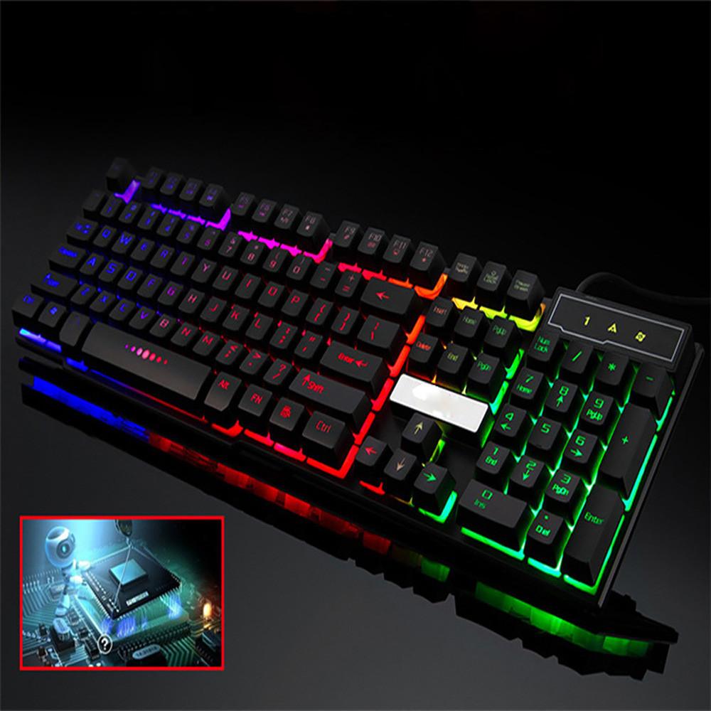 DZT1968 Colorful Crack LED Illuminated Backlit USB Wired PC Rainbow Gaming Keyboard