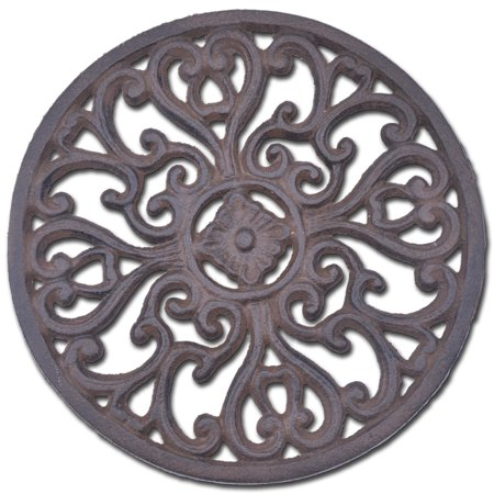 "Decorative Round Cast Iron Trivet - Ornate Heart Design - 7"" Wide"