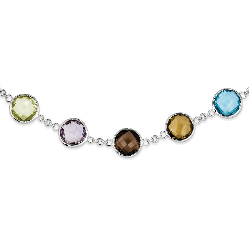 Sterling Silver 18.5in. Amethyst BT Multi-color Quartz Necklace 43.5ct