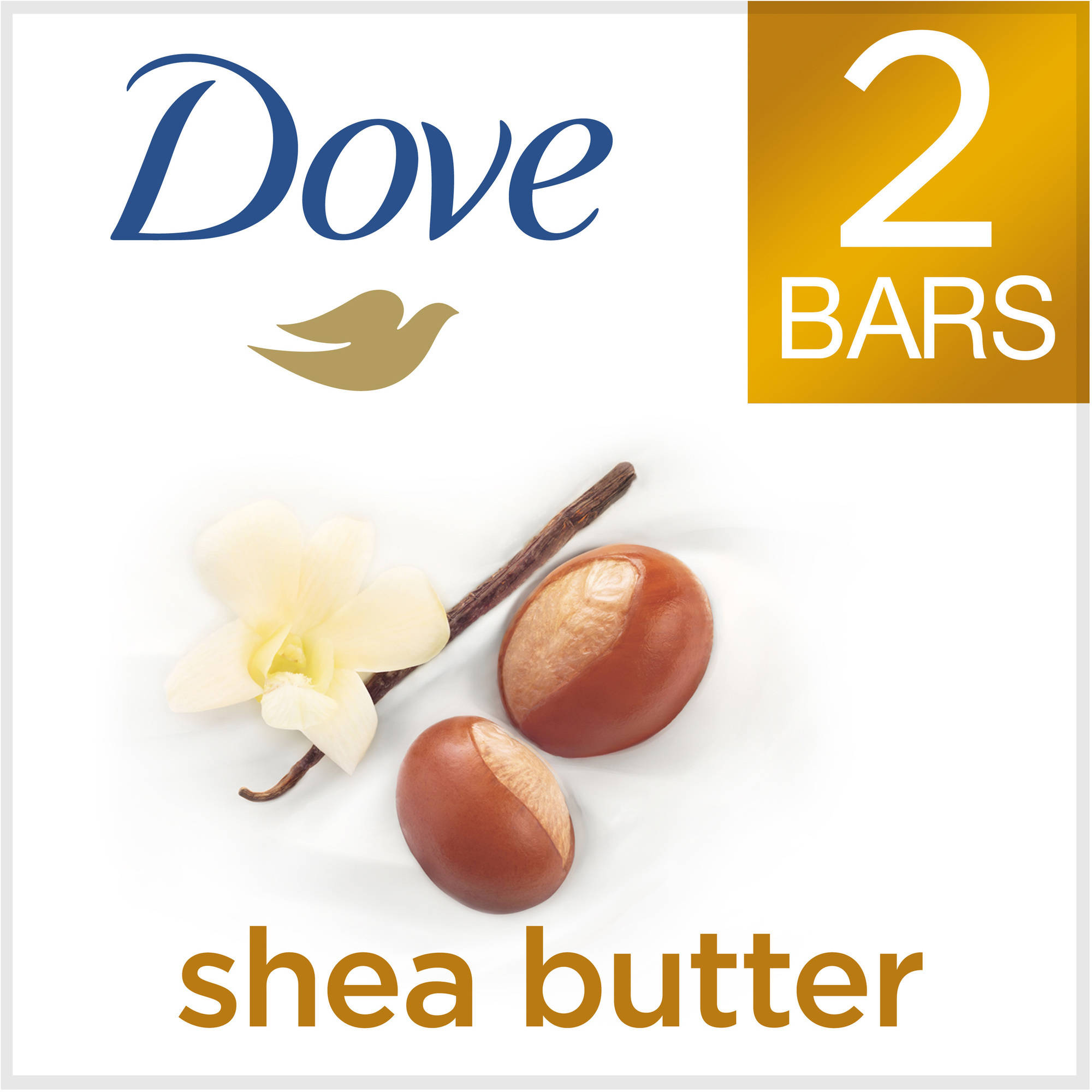 Dove Purely Pampering Shea Butter with Warm Vanilla Beauty Bar, 4 oz, 2 Bar