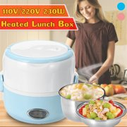 Electric Food Heater Portable Heated Cooking Rice Container Heating Lunch Bento Cooker Steamers 230W 1.3L/ 44oz Portable Lunch Box with Stainless Steel Bowl and Plate