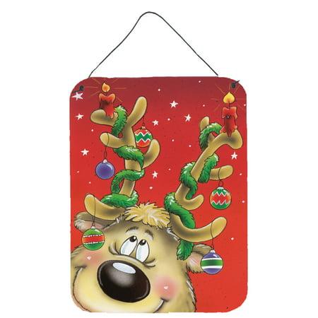 Comic Reindeer with Decorated Antlers Wall or Door Hanging