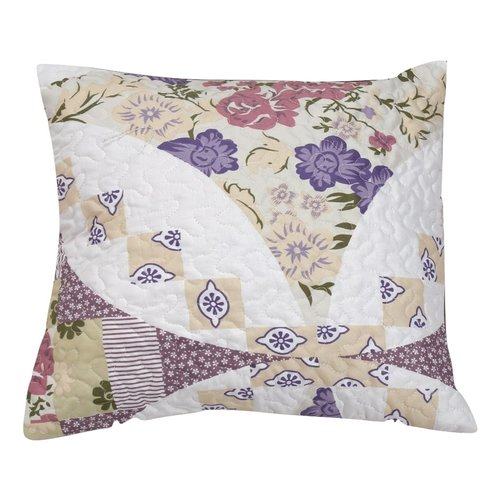 DaDa Bedding Wisteria Roses Quilted Cotton Pillow Cover (Set of 2)