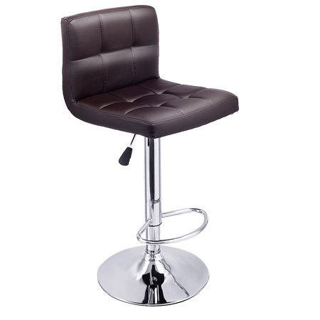Costway 1 PC Bar Stool Swivel Adjustable PU Leather Barstools Bistro Pub Chair